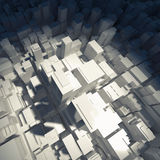 Abstract digital white schematic cityscape 3d Royalty Free Stock Photo