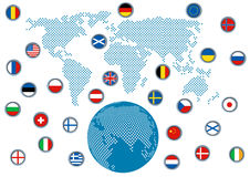 Abstract dimensional globe with flags Stock Images