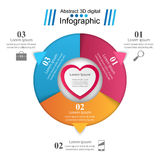 Abstract 3DInfographic. Heart icon. Infographic design template and marketing icons. Heart icon royalty free illustration