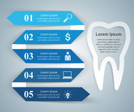 Abstract 3DInfographic. Tooth icon. Business Infographics origami style Vector illustration. Tooth icon Royalty Free Stock Photography