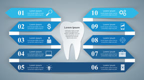 Abstract 3DInfographic. Tooth icon. Business Infographics origami style Vector illustration. Tooth icon Royalty Free Stock Images