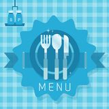 Abstract dining ware icons on blue seamless plaid  Royalty Free Stock Photo