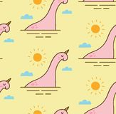 Abstract dinosaur in a lake seamless pattern stock illustration