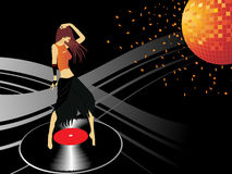 Abstract disco background with dancing girl Stock Image