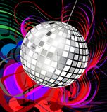 Abstract disco ball. Black background with abstract colored image of music and specular disco ball Royalty Free Stock Images