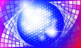 Abstract discoball and light blue pink background. Abstract discoball and light blue pink shiny background royalty free illustration