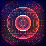 Abstract  distorted sphere. Explosion of sphere with glowing particles. Abstract Globe Grid. Sphere Illustration. 3D Grid De Royalty Free Stock Photos