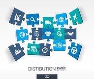 Abstract distribution background with connected color puzzles, integrated flat icon. 3d concept with Delivery, service, shipping. Logistic, transport, market stock illustration