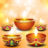 Abstract diwali background with deepak set Stock Images