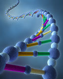 Abstract DNA Chains. 3D Render of DNA in abstract blue background vector illustration