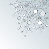 Abstract  Dna molecule structure with Polygon on light gray color Royalty Free Stock Photography