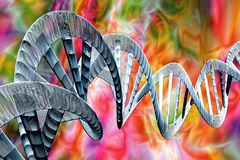 DNA Strands 3D Illustration. Abstract DNA strand double helix genetics 3D illustration royalty free illustration