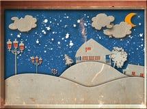 Abstract document Cu t maan met sterren Stock Fotografie