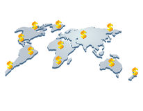 Abstract dollar. Abstract dollar on the world map Stock Images