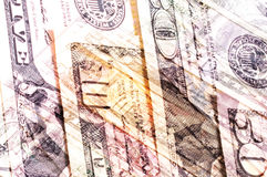 Abstract dollar bills of different denominations background. Royalty Free Stock Photo