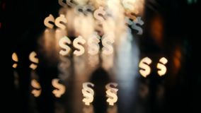 Abstract Dollar Bokeh Background. Night City Traffic Makes Beautiful Blurry Money Currancy Sign. 4K. Abstract Dollar Bokeh Background. Night City Traffic Makes stock video