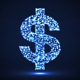 Abstract Dollar Sing Of Glowing Particles Stock Images