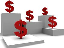 Abstract dollars background. 3d illustration of white background with boxes and red dollar signs Stock Images
