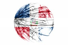 Abstract Dominican Republic sparkling flag, Christmas ball concept isolated on white background. Abstract Dominican Republic sparkling flag, Christmas ball vector illustration
