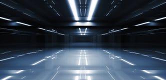 Abstract donker 3d tunnelperspectief Royalty-vrije Stock Afbeeldingen
