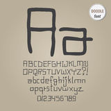 Abstract Doodle Alphabet and Digit Vector Royalty Free Stock Photography