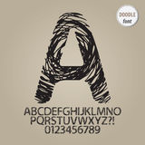 Abstract Doodle Alphabet and Digit Vector Royalty Free Stock Photo