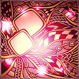 Abstract doodle background with light in gold pink red colors Stock Image