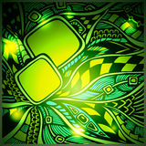 Abstract doodle background with light in green colors. For advertising motion high technology Royalty Free Stock Photo