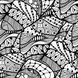 Abstract doodle background. Seamless abstract doodle background pattern in vector. Design Asian, ethnic, zentangle, tribal pattern. Black and white background Vector Illustration