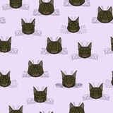 Abstract  doodle cat face seamless pattern Royalty Free Stock Photo