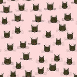 Abstract  doodle cat face seamless pattern Stock Photography