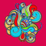 Abstract doodle colorful element on red background. Royalty Free Stock Image