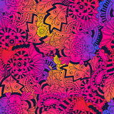 Abstract doodle floral seamless pattern. Colorful vector background. With abstract flowers and leaves stock illustration