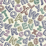 Abstract doodle font seamless pattern Stock Image