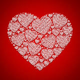Abstract doodle heart for valentine card Stock Photo