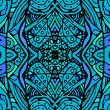 Abstract doodle illustration. Vector seamless texture. Endless background blue. Ethnic seamless pattern. Stock Image