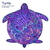 Abstract doodle outline turtle illustration. Painted Tortoise, many shades of purple. On a white background Royalty Free Stock Image