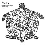 Abstract doodle outline turtle illustration. Vector, black and white image Stock Images