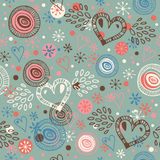 Abstract doodle seamless background with hearts  Endless scribble pattern Stock Photography