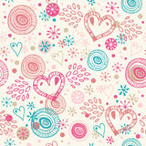 Abstract doodle seamless background with hearts. Romantic scribble pattern Stock Photo