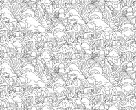 Abstract doodle seamless pattern with objects for ski vacation Royalty Free Stock Photo