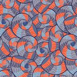 Abstract Doodle Seamless Pattern with Seashells Stock Image