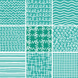 Abstract Doodle Seamless Patterns Set. Set of 9 abstract seamless doodle patterns and textures. Can be used for wallpapers, pattern fills, web page backgrounds Stock Photo