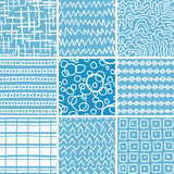 Abstract Doodle Seamless Patterns Set. Set of 9 abstract seamless doodle patterns and textures. Can be used for wallpapers, pattern fills, web page backgrounds Royalty Free Stock Photos