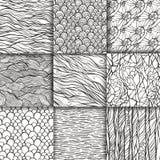 Abstract doodle seamless patterns set Stock Photos