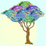 Abstract  doodle  tree with psychodelic patterns Royalty Free Stock Photo