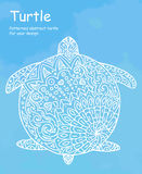 Abstract doodle turtle illustration. On a blue watercolor background Stock Photography