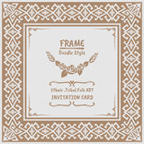 Abstract Doodle vector tribal ethnic style frame Royalty Free Stock Photos