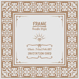 Abstract Doodle vector tribal ethnic style frame Royalty Free Stock Image