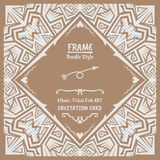Abstract Doodle vector tribal ethnic style frame Royalty Free Stock Photography